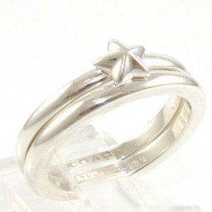 Coach Sterling Silver Star Stackable Ring Band Set